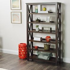 """Complete your Italian countryside decorating scheme with our Verona Six-Shelf Bookshelf. Adorned with the iconic """"X"""" detail for which this bestselling collection is known, it's a contemporary home office solution disguised as a rustic find."""