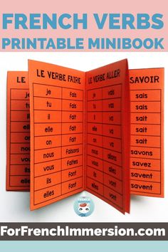 Want your second language students to learn French verbs? Want them to think that French grammar is fun? Give each of them this foldable verbs minibook so they can practice French verbs conjugation. This FREE printable is a gift for you if you sign up to receive my emails. Click to learn more! #forfrenchimmersion #frenchverbs #frenchimmersion #corefrench