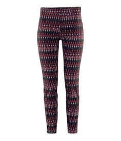 red patterned trousers
