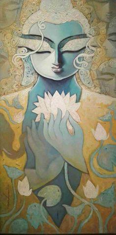 Buda Painting, Lotus Painting, Acrylic Painting Canvas, Buddha Drawing, Buddha Art, Art Painting Gallery, Mural Art, Wall Art, Indian Art Paintings