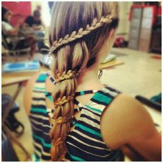 French braid wrapped around a ponytail. #hair #style