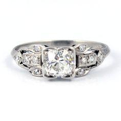 Platinum Art Deco Filigree European Cut Antique Diamond Engagement Ring