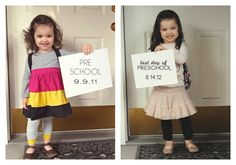 Wish I had seen this when Leila first started school :( very cute idea! Take a picture of the first and last day of school to see how much they change over the year - this would make a really cute photo book when they graduate high school. Little People, Little Ones, Kind Photo, Foto Fun, Baby Kids, Baby Boy, Last Day Of School, High School, Pre School