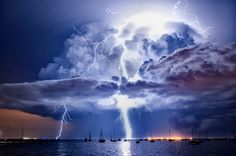 Amazing shots of a storm over of Corio Bay, Geelong, VIC, Australia