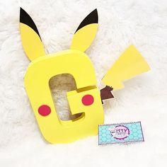 Guess who again! #pikachu #pokemon Www.ittybitsdesigns.com Pokemon custom letters Pokemon Paper mache letter