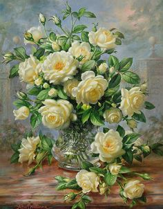 Princess Diana Roses In A Cut Glass Vase Painting by Albert Williams