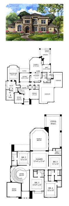 Tuscan House Plan 61749 | Total Living Area: 4486 sq. ft., 5 bedrooms and 5.5 bathrooms. #tuscanhome