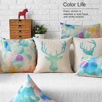 Nordique Aquarelle Animal oreiller, couleur D'encre cerfs coussin, linge taie d'oreiller, canapé coussins Oreillers décoratifs pour la maison