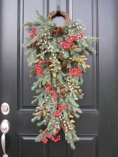 Country Wreaths, Holiday Wreath, Christmas Wreath, Christmas Swag, Front Door Wreaths, Holiday Home Decor, Holiday Door Swag. $125.00, via Etsy.