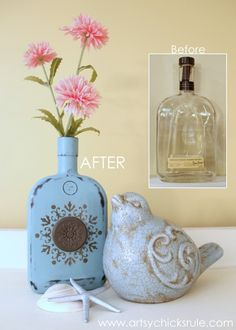 Easy, DIY Chalk Painted Bottles - Oil Rubbed Bronze- Before & After - artsychicksrule.com #thriftydecor #chalkpaint #oilrubbedbronze #diy
