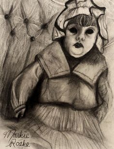 Pencil Sketch by Markie Roake. Creepy Antique Doll.