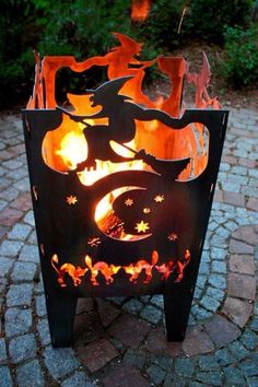Bewitching broom ride outdoor fire box