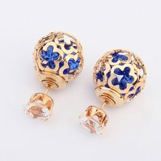 YANA Jewelry Fashion Wholesale Trendy Double Sides Pearl Earring Two Ball Stud Earrings For Woman Crystal Jewelry 020