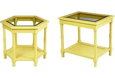 Yellow Side Tables, Pair - One Kings Lane - Vintage & Market Finds - Furniture (725.00)