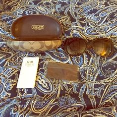 Coach Sunglasses Only worn once comes with case and never used cloth. Coach signature on side of glasses. Coach Accessories Sunglasses