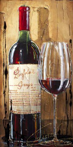 Original multi-media painting on canvas by Nathalie Chiasson. Nathalie Chiasson original acrylic painting on canvas Wine Painting, Bottle Painting, Acrylic Painting Canvas, Art Du Vin, Baie St Paul, Wine Meme, Charlevoix, Victorian Paintings, Magazine Crafts