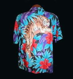 80's Men's Big Tiger Print Shirt, Tropical Hawaiian Cotton Aloha, from MisterBibs Vintage