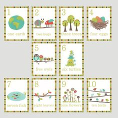 """These beautifully crafted nursery wall cards are as adorable as they are educational. Eco friendly art for the globally minded parent, raising the future generation of Earth protectors. Decorate your home with nature inspired children's art, while promoting learning and growth. This set includes ten 5x7"""" (12.7cm-17.8cm) wall cards. Versatile decorating options, you can string them together with twine or hemp, or tack the to the wall and cover the tacks with washi tape. Check out of blog for…"""