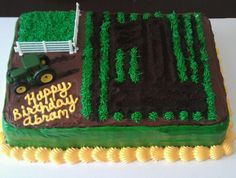 John Deere birthday cake. 1st birthday! Oreo crumbs and tractor create the number 1.