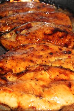 Caramelized Italian Chicken: 1 pkg Italian seasoning, 1/2 cup brown sugar, coat 2.5-3 lbs chicken breasts and bake in 350 oven for 20-25 minutes on each side then place under broiler for 2 minutes on each side.