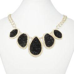 Natural Black Drop Druzy Necklace, Statement Necklace, Bib Necklace, Beadwork Necklace, Valentines Jewelry-128566879