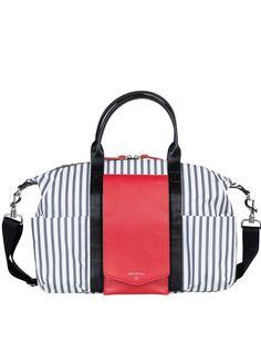 TWELVE little - Peek-a-Boo Satchel in Grey Stripe/Red