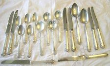 1930's Lunt ENGLISH SHELL Sterling Silver Flatware SPOONS FORKS KNIVES 30 Pieces