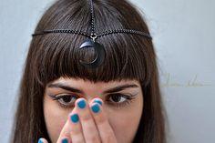 Kopfkette schwarzer Halbmond Festival Schmuck