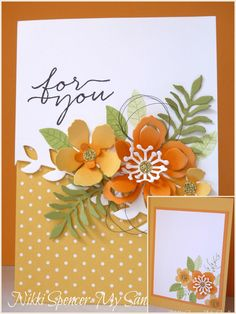 Botanical Builder framelits, Blooms and Wishes greeting; So Saffron, Peekaboo Peach, Pear Pizzazz, teamed up with crisp white to keep it fresh and clean.
