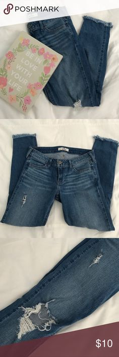 "Hollister jeans Distressed jeans, supposed to be ""ankle/cropped"" but I'm 5'2 and they're full length. Holes in both knee areas and frayed bottoms.  ✨ currently not trading   ✨ feel free to ask any questions  ✨open to most reasonable offers Hollister Jeans"