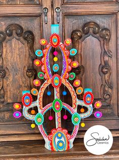 Ceramic Mexican Folk Art 3 candle candelabara Ceramic Painting, Ceramic Art, Mexican Colors, Kitsch Decor, Mexican Ceramics, Hacienda Style, Mexican Folk Art, Eclectic Decor, Vintage Colors
