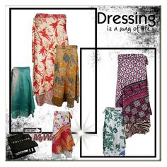 Bohemian Vintage Silk Wrap Skirts by boho-chic-2 on Polyvore featuring vintage