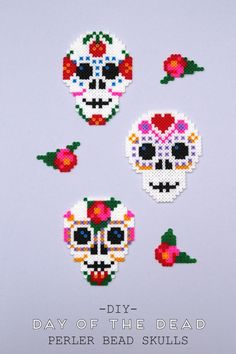 DIY DAY OF THE DEAD PERLER BEAD SKULLS.