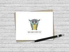 Love Card, Owl Always Choose You, Valentine, Valentine's Day Card, Greeting Card, Wedding/Anniversary Card, Valentine's Day, Illustration