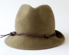 Felt Fedora Hat Women Fall Fashion Khaki Fedora by KatarinaHats