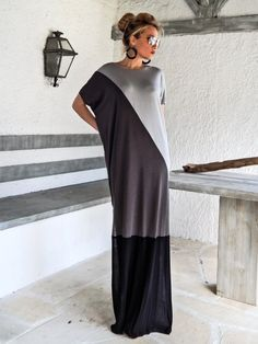 Black & Gray Maxi Dress / Black Gray Kaftan / Plus Size Dress / Oversize Loose Dress / #35073