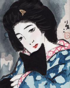 Woman Holding a Cat 猫を抱く女 | woodcut print | Takehisa Yumeji 竹久 夢二