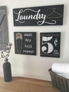 Laundry room decor signs laundry room signs set of 3 laundry room decor laundry room d . Rustic Laundry Rooms, Laundry Decor, Laundry Room Signs, Farmhouse Laundry Room, Laundry Room Organization, Laundry Hanger, Laundry Room Remodel, Basement Laundry, Diy Room Decor