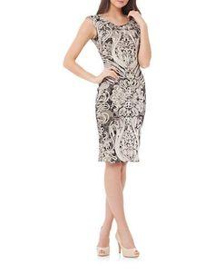 Js Collections Soutache-Accented Mesh Sheath Dress Women's Ivory/Black