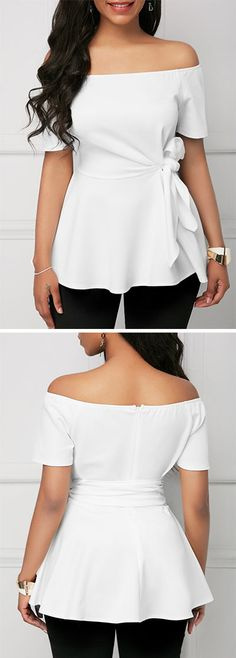 Short Sleeve Belted Off the Shoulder White Blouse. Classy Dress, Classy Outfits, Cool Outfits, Summer Outfits, Girl Fashion, Fashion Dresses, Womens Fashion, Fashion Design, Fashion Tips