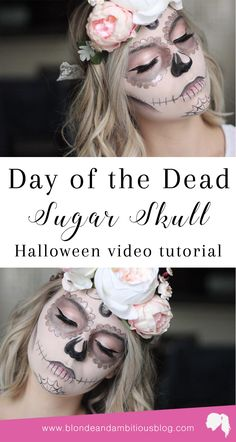 Halloween Tutorial Series: Day of the Dead Sugar Skull Halloween Tutorial Serie: Tag des toten Halloween Makeup Sugar Skull, Sugar Skull Costume, Halloween Skull, Costume Halloween, Vintage Halloween, Sugar Skull Makeup Tutorial, Skull Candy Makeup, Skeleton Costumes, Skeleton Makeup