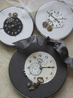 Vintage Clock Ornaments (Tutorial), Shabby Chic Craft (Uses embroidery hoop frames, this would also be a great way to use old CD's you don't want and/or metal juice can lids)