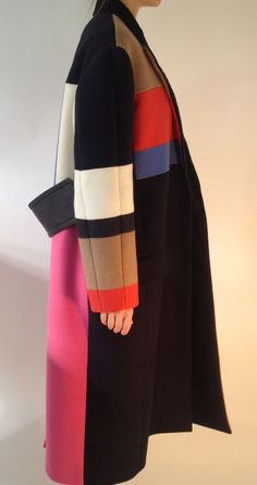 oversized colour block coat (fr 38) • célineUS $3,000.00 BIN/OBO