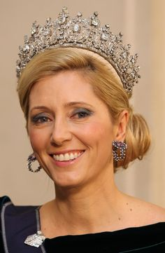 Crown Princess Marie-Chantal of Greece attends a Gala Dinner to celebrate Queen Margrethe II of Denmark's 40 years on the throne at Christiansborg Palace Chapel on January 15, 2012 in Copenhagen, Denmark. Wearing Queen Sophie's tiara.