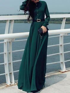 tidestore - tidestore Stand Collar Long Sleeve Maxi Dress - AdoreWe.com