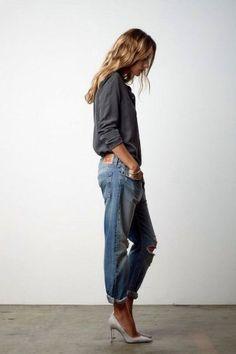 Grau kombinieren: Lässig zu Jeans