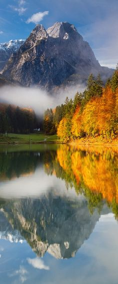 Bavaria in Germany has great autumn colors, and a lot of good walking and hiking trails to see them on. Lake Riessersee in Bavaria is a particularly scenic place to see the seasonal changes in the trees.