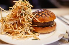 spotted pig - roquefort burger and shoestring fries