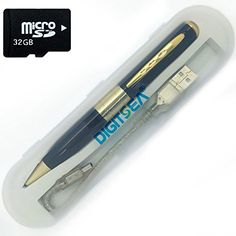 digitsea Portable Mini Spy Pen  32GB Memory Card HD Video Hidden DVR Video Business Portable Camera Camcorder Recorder Cam video 640480p AVI Picture 1280960p JPG format gold ** You can get more details by clicking on the image. (Note:Amazon affiliate link)