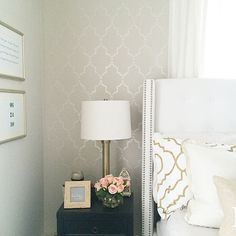 the Marrakeh Trellis Stencil from @cuttingedgestencils. My wall color is Edgecomb Gray by Benjamin Moore and I stenciled with latex paint in the color Pearl by Benjamin Moore.  #Padgram